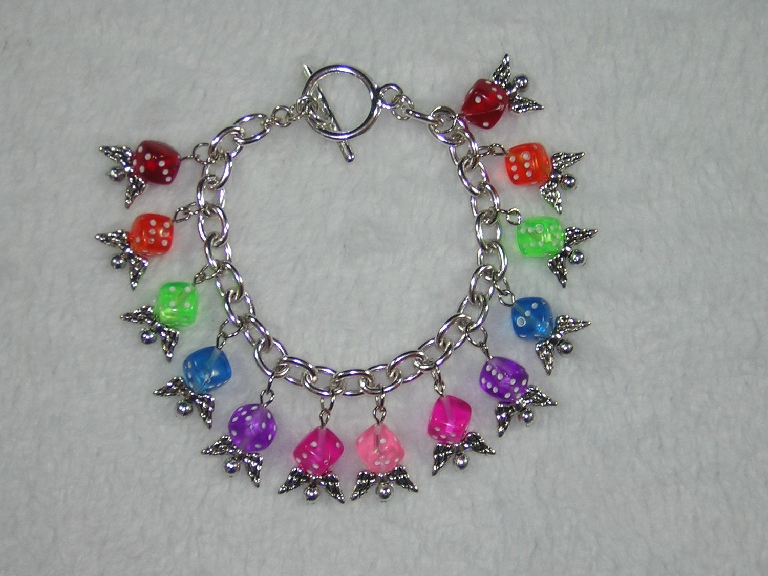 Rainbow Flying Dice Beaded Charm Bracelet for Gamer Girls D225B-00001