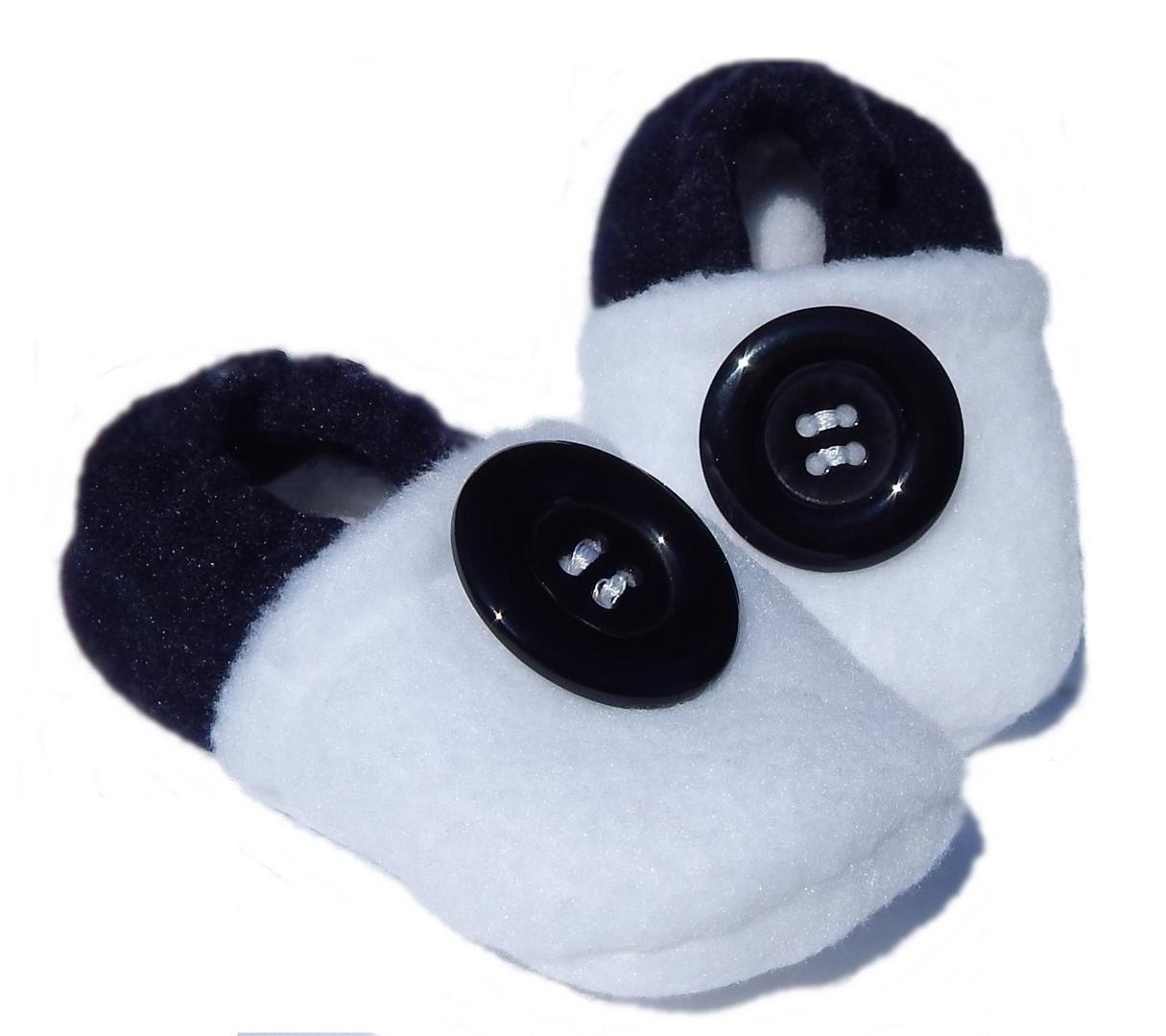 Fleece Baby Slippers - Soft-soled Black & White - 3-6mo, 12-18mo, 18-24mo - LittleTadpoleDesigns