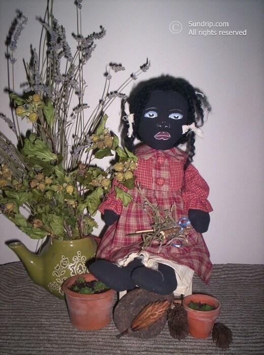 Marabella Primitive Black Americana shelf sitter art rag doll original