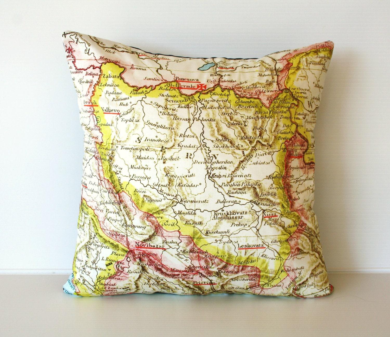 СЕРБИЯ старинные карты подушке, карта подушку, органический хлопок 16 дюймов, 41 см