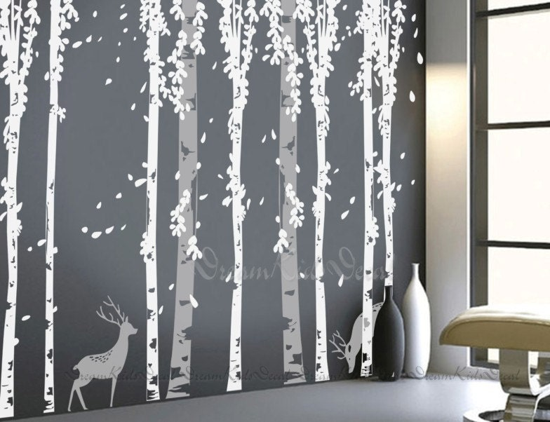 Wall decals tree decal nature wall decals vinyl by for Beautiful birch tree wall mural