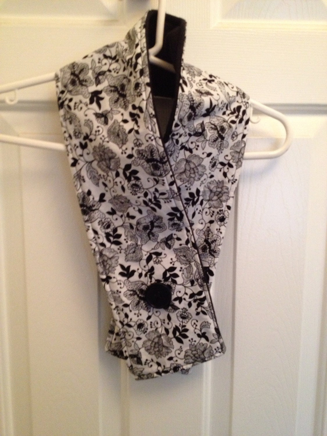Black and white Floral print with Black fleece Lining Scarf Neck Warmer