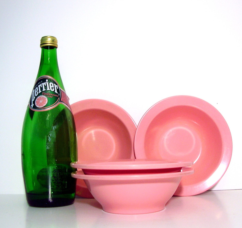 Vintage Melmac Bowls Pink Mid century Kitchen Beverly Set of 4