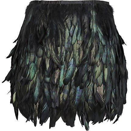 Black rooster coque feather skirt mini length for party event - weddingfeather