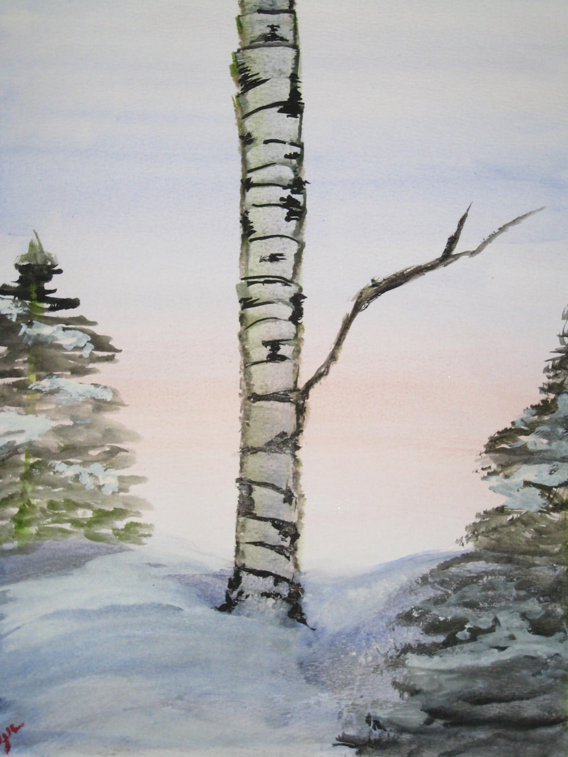 "Birch Painting-""Winter Birch"""
