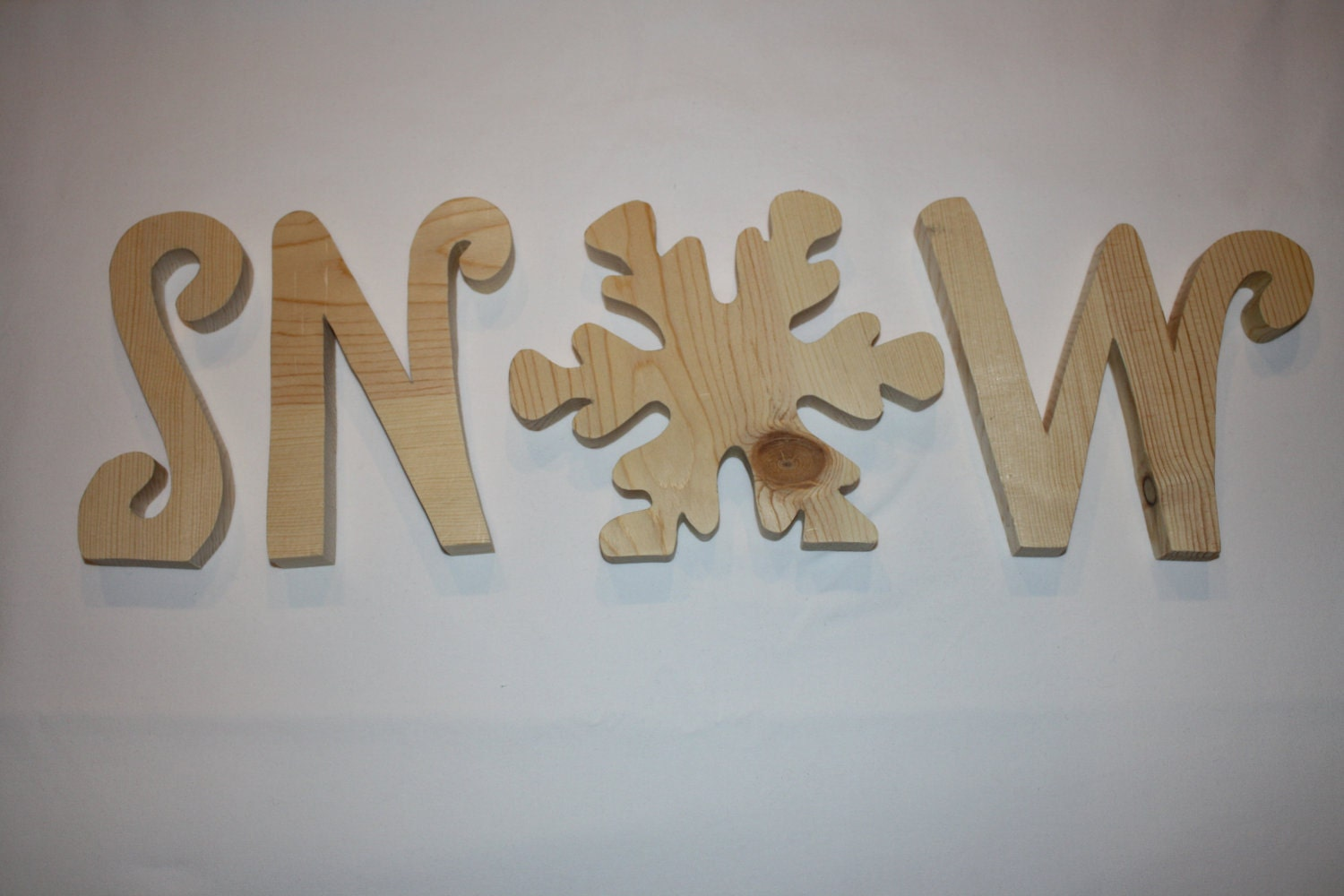 "Snow unfinished wood word to decorate you home for the season 6"" tall (small snow)"