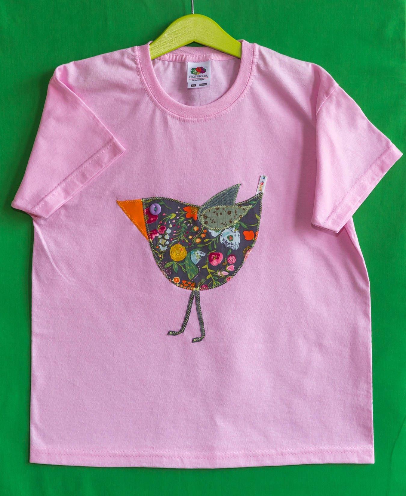 Little Sausages unique children appliqu TShirt bird animal motif handmade 100 cotton 78 pink girls kids