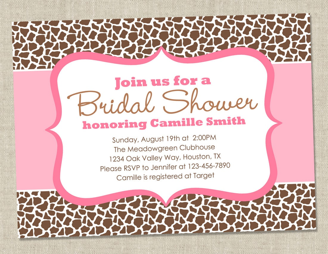 Leopard or Giraffe Bridal Shower Invitation - pink and brown animal ...