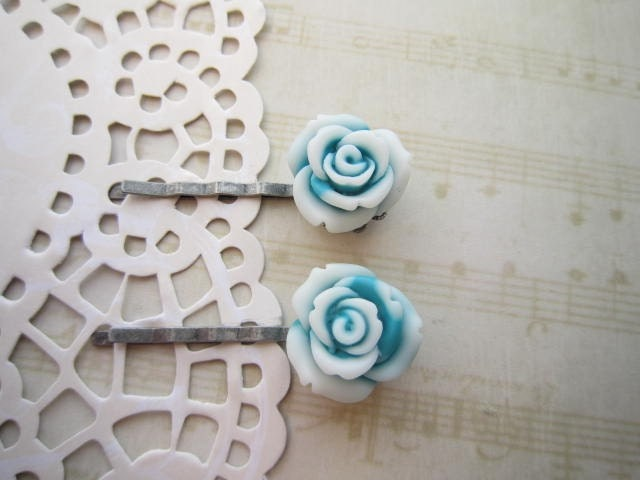 Icy Blue Blooms - Bobby Pin Set