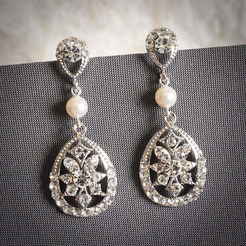 LABINIA, Swarovski Crystal and Pearl Bridal Earrings, Vintage Style Rhinestone Teardrop Wedding Dangle Earrings, Old Hollywood Jewelry