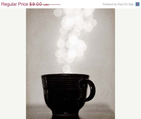 25% OFF SALE Abstract Photograph - Coffee Break - 4x6 Food Black White Cup Circles silver grey rustic whimsical