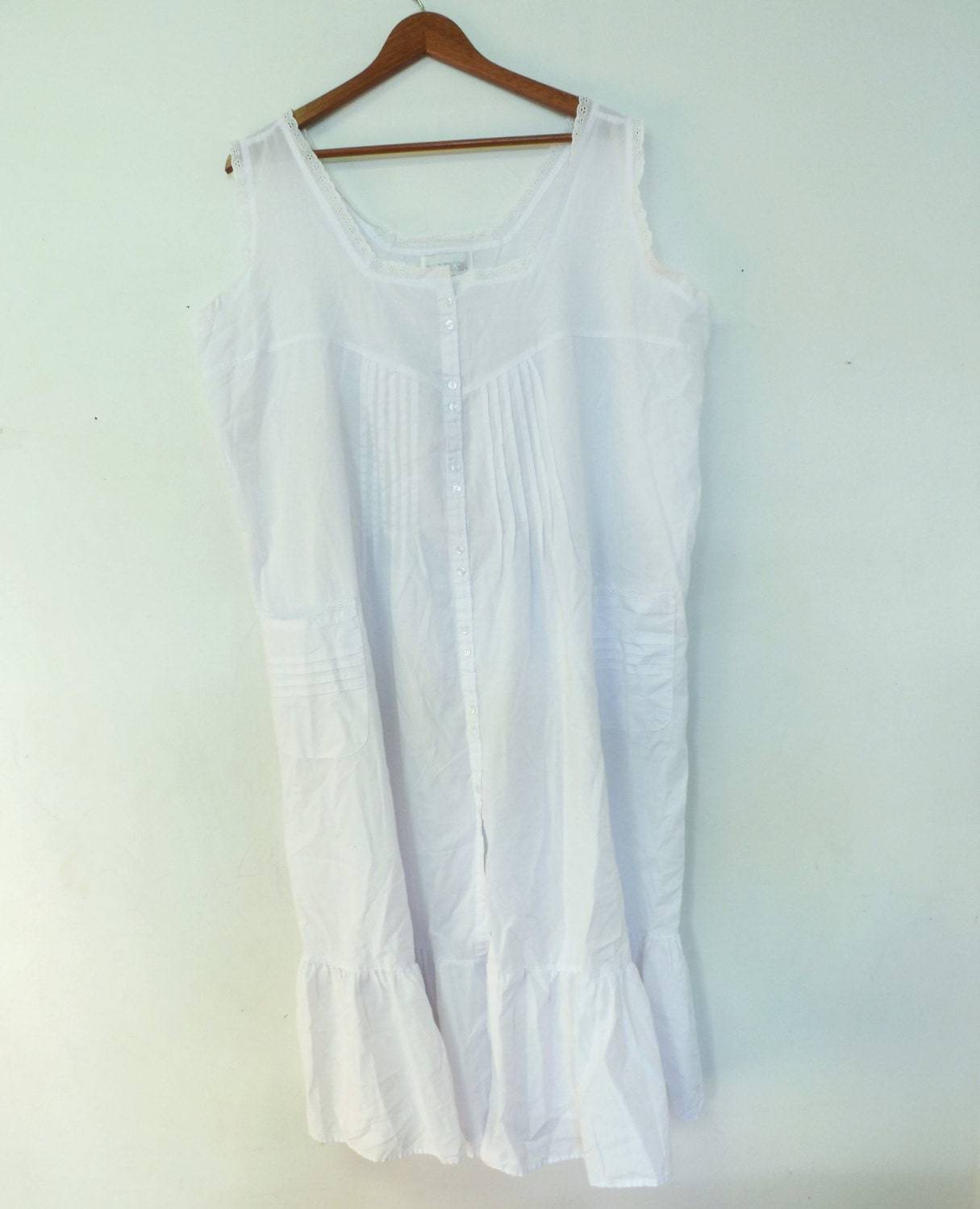 Vintage Ashley Taylor White Cotton Nightgown By