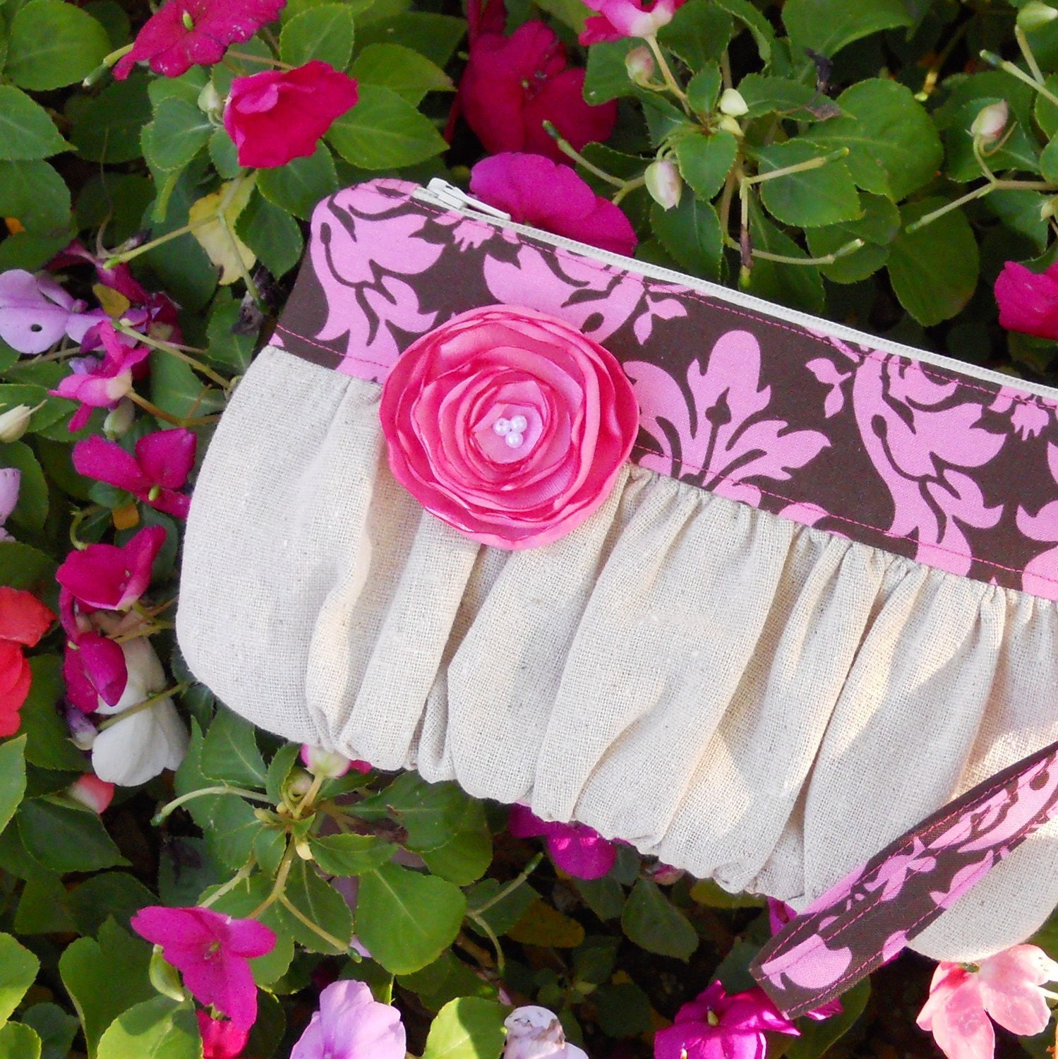 Wristlet Pink and Chocolate Damask
