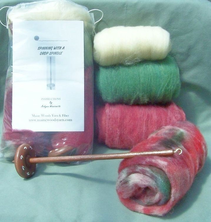 MAINE MAPLE WOOD DROP SPINDLE SPINNING KIT APPLES N PLUMS