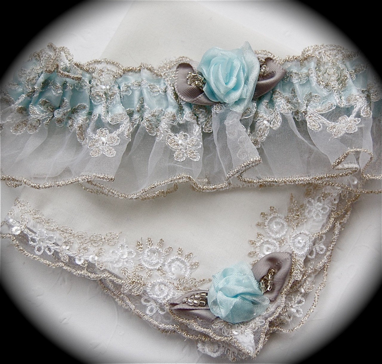 Elegant in Tiffany Blue GarterLady's Most Regal Romantic Wedding Lace Garter Hanky Set