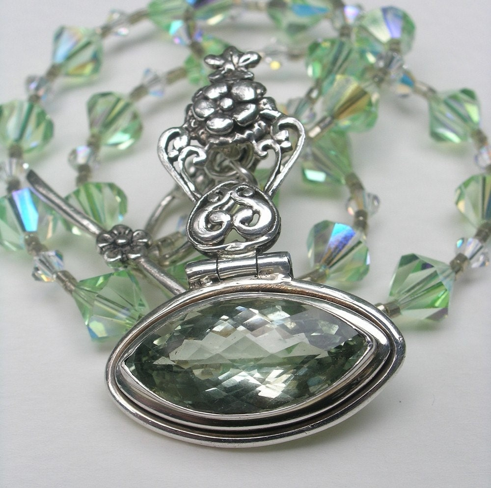Chrysolite and Silver Filigree Necklace