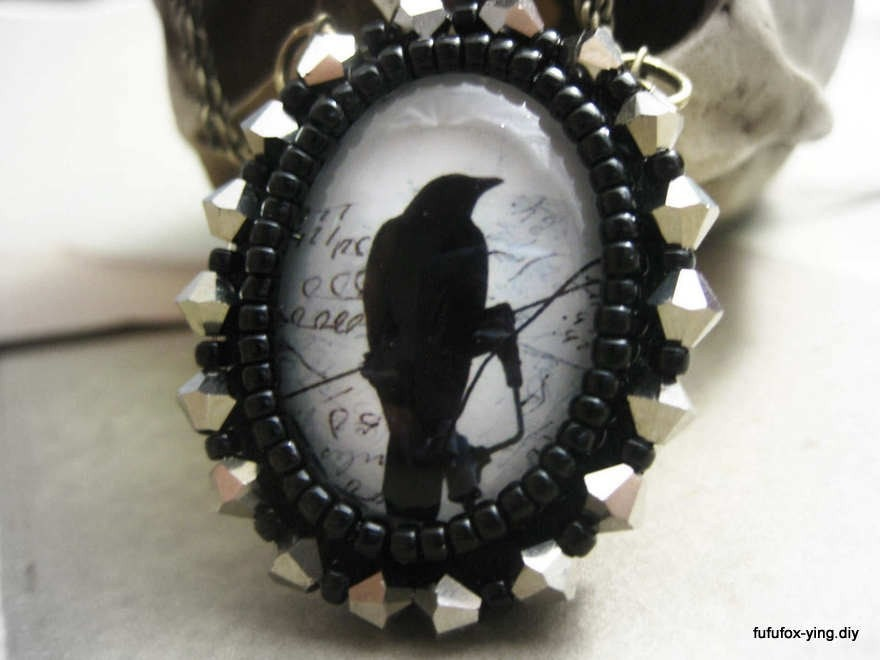 the crow black grey crystals beaded bezel necklace