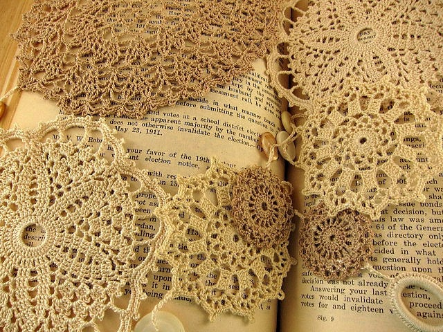 Fine Crochet Lace Doily Wall Art by CamilleMarie on Etsy