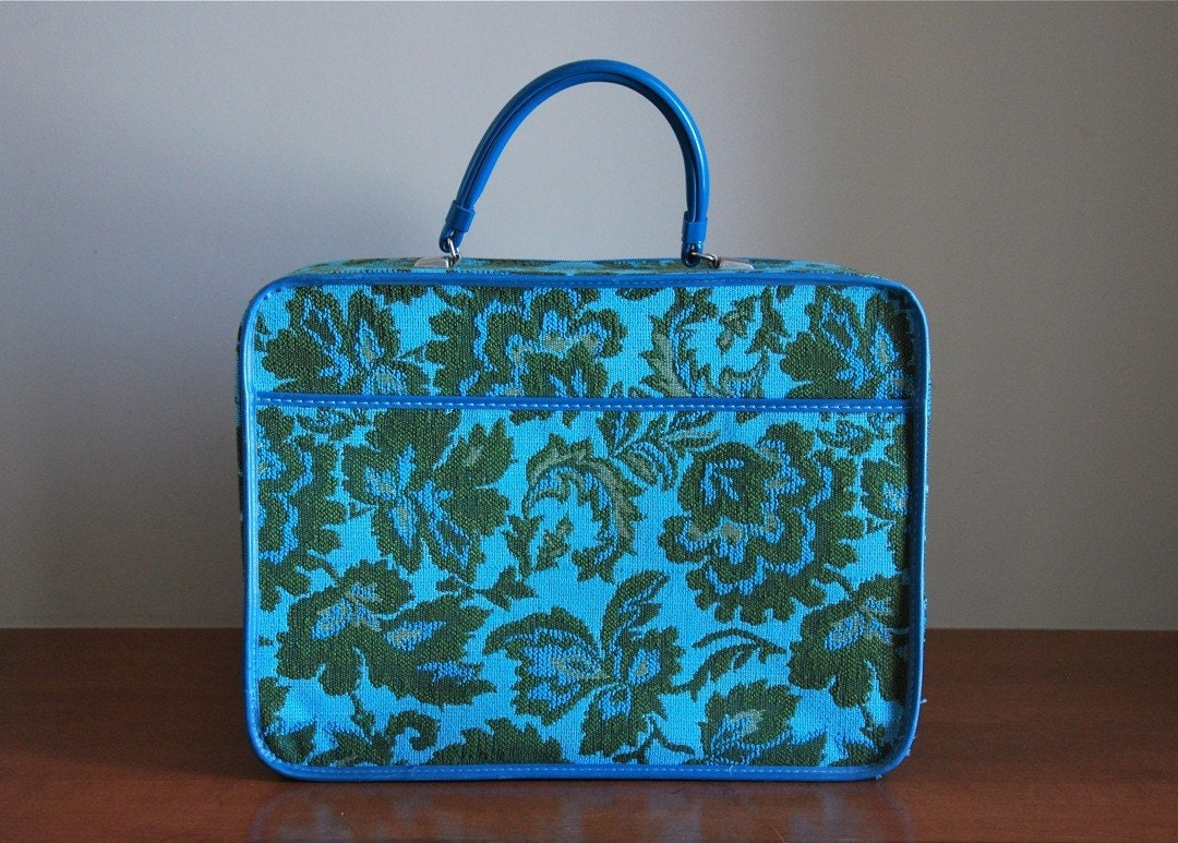 Little Aqua Tapestry Suitcase