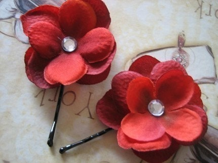 Red Beauty Flower Bobbie Pins