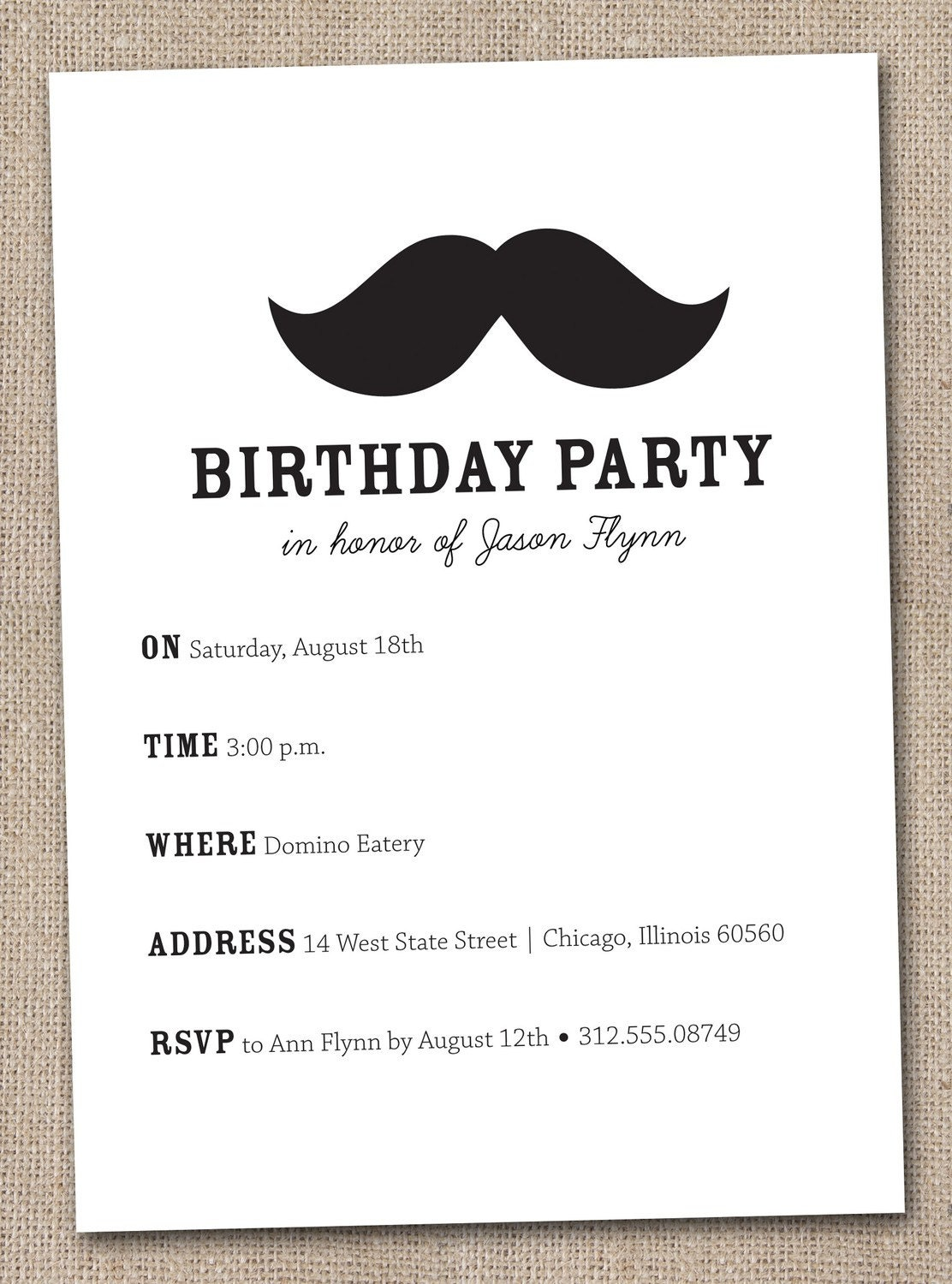 Mustache Bash Birthday Party Invitations Printable Digital Picture