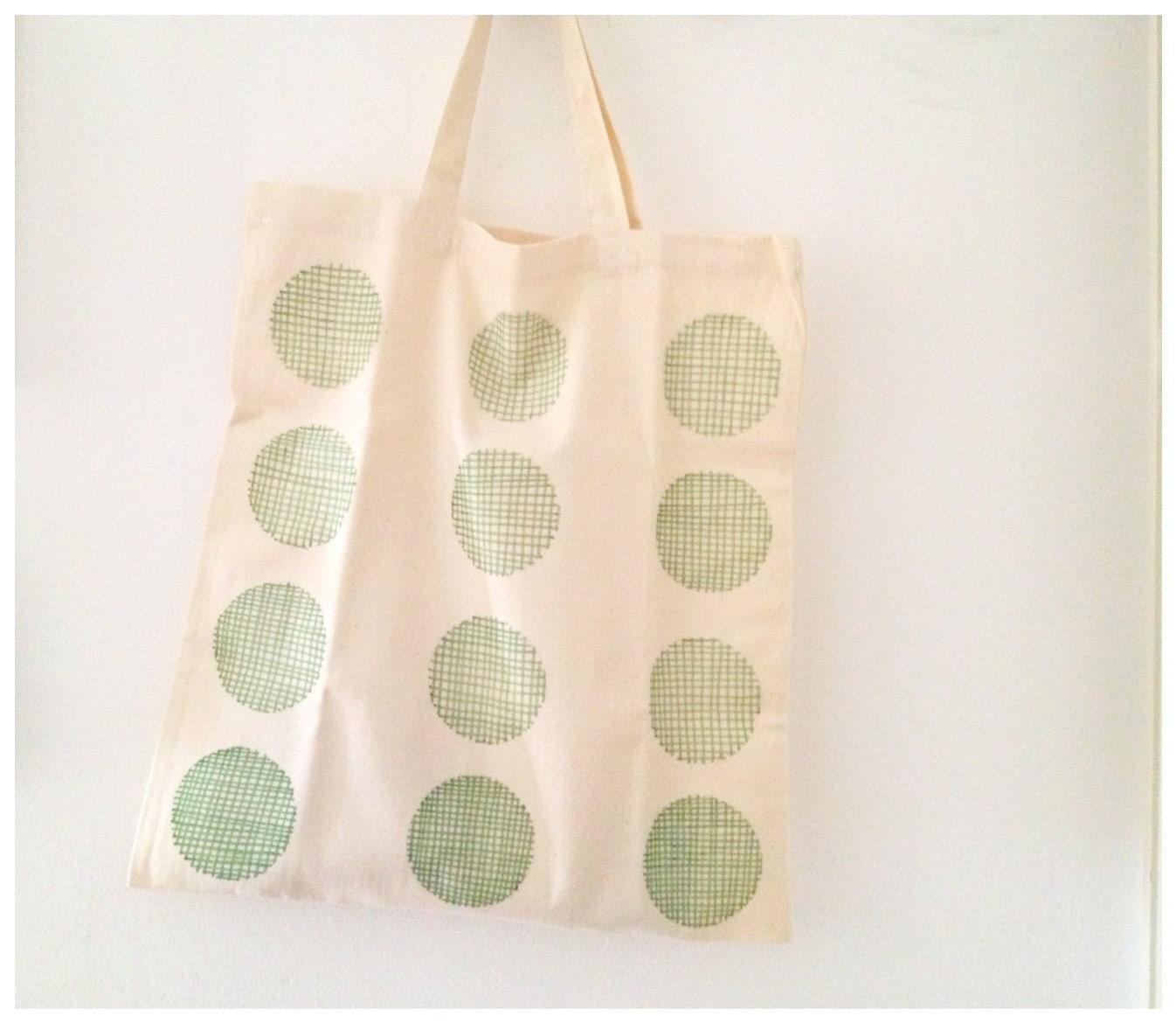 Cotton Tote Bag Green Geometric Tote Polka Dot Bag Eco Design - mipluseddesign
