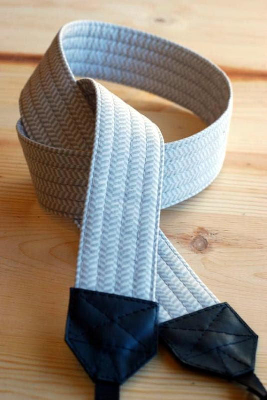 Gray Herringbone SLR Camera Strap with Genuine Leather Ends - Free Shipping