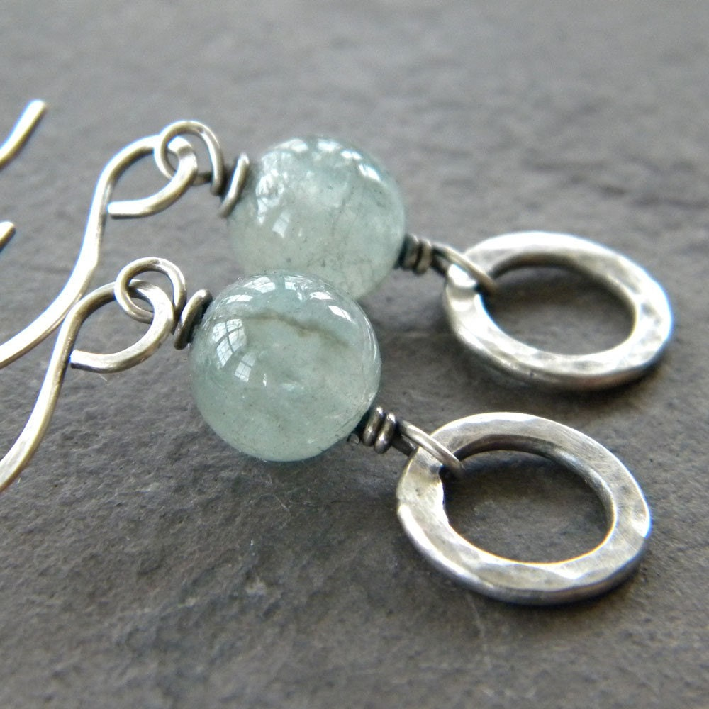 Natural Aquamarine -  Antiqued Sterling Silver Ring Earrings