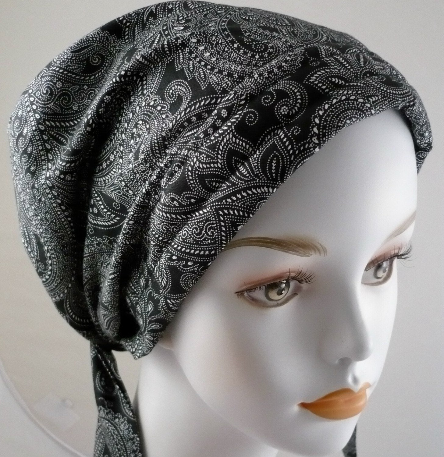 black paisley chemo cancer hair loss scarf by
