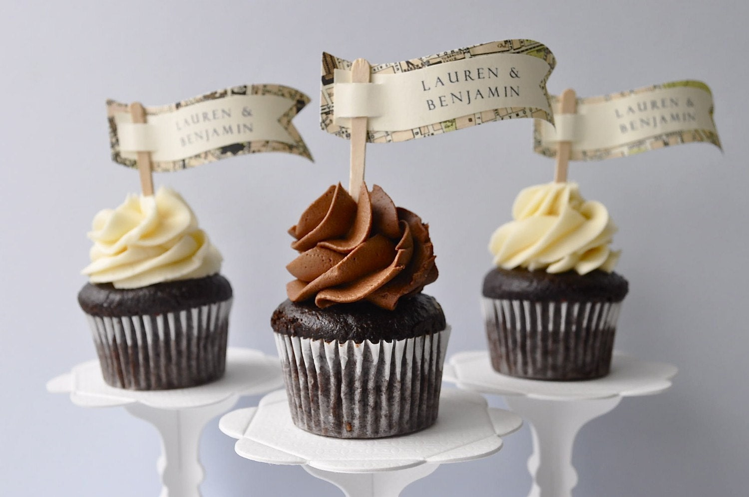 Personalized map banner cupcake flags or cake topper (set of 12)