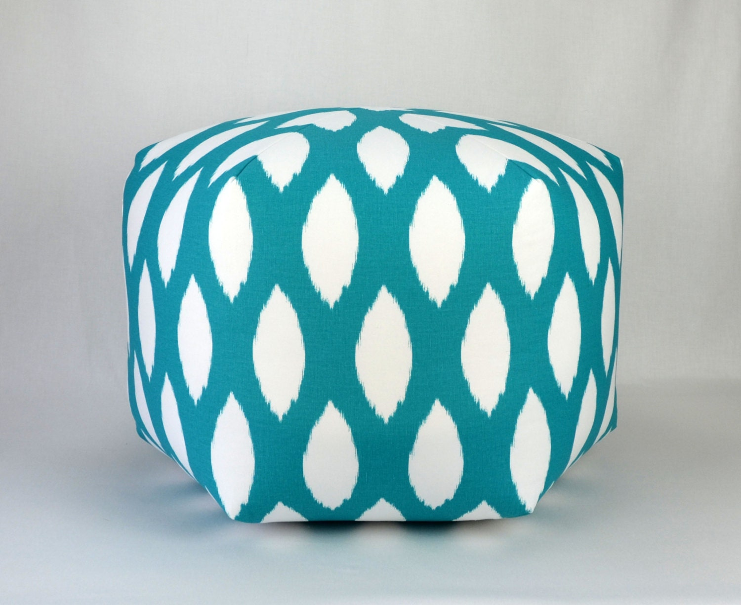 True Modern Pillows : 25 Floor Ottoman Pouf Pillow True Turquoise & White by Zeldabelle