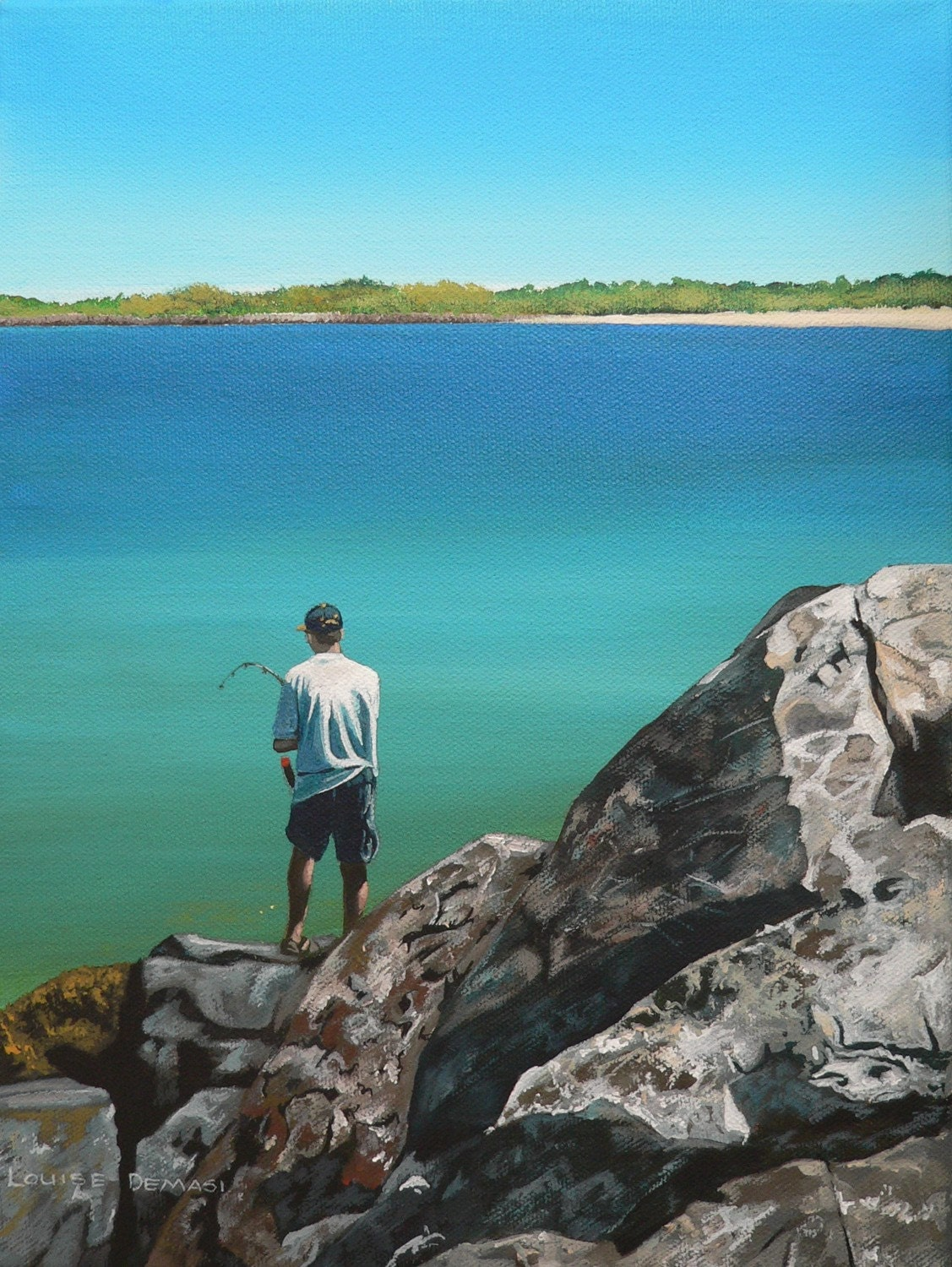 Gone Fishing Original Acrylic Painting- SALE- REDUCED