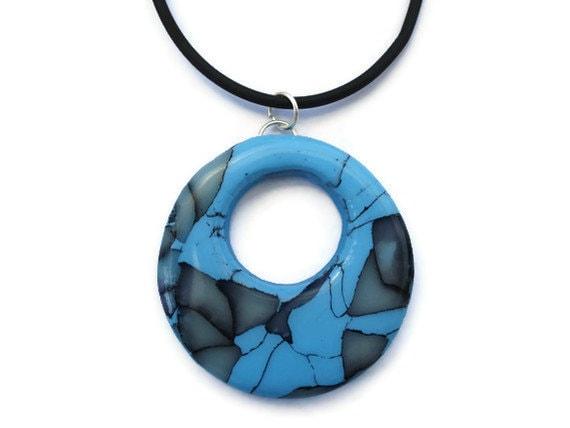 Round Pendant  Turquoise Marble Effect by KireinaJewellery on Etsy |  Craft Juice