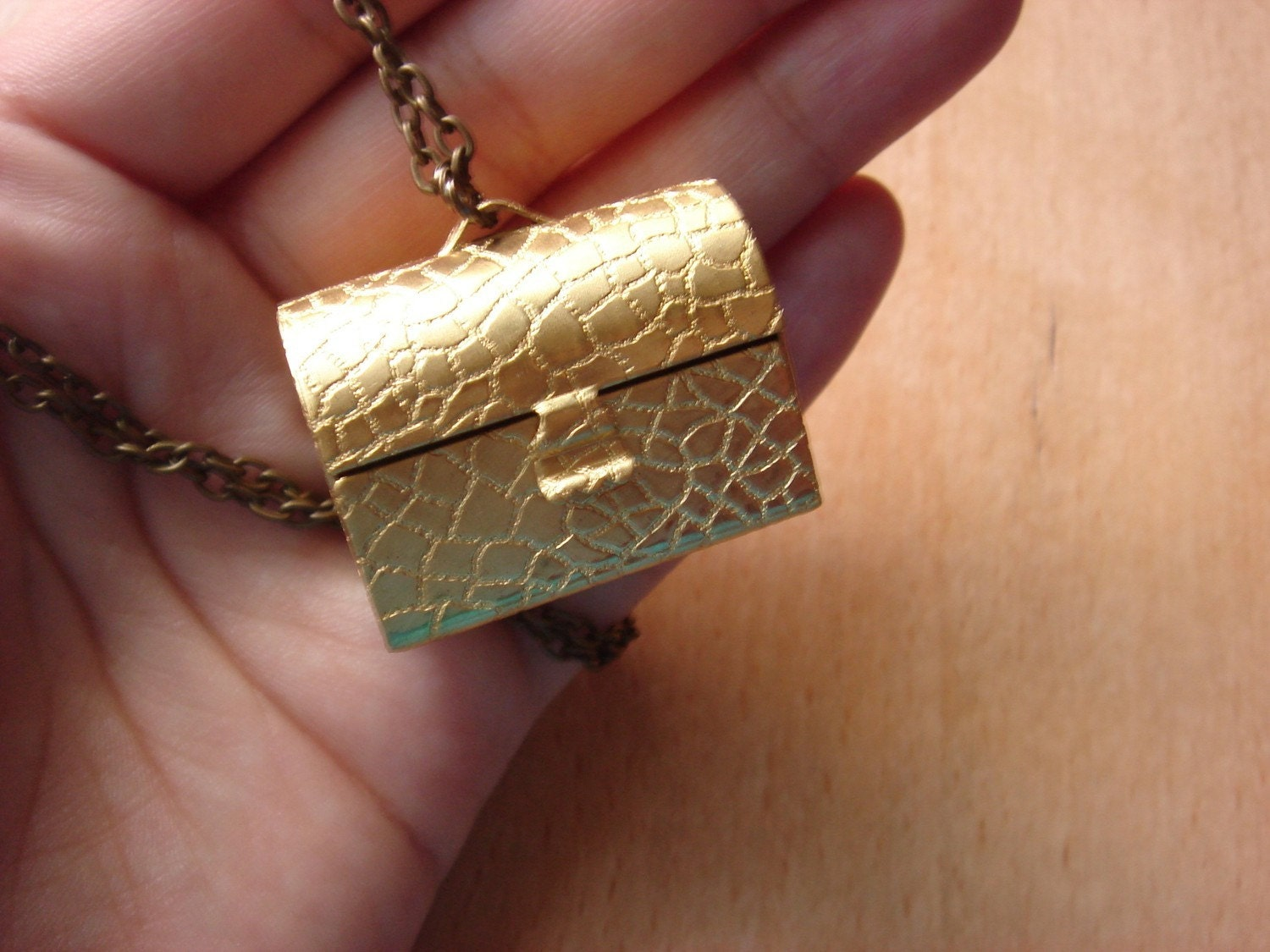 Vintage Brass Treasure Trunk - Necklace