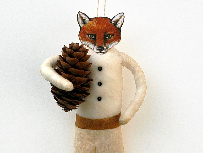 Fox Spun Cotton Holiday Ornament - Handmade Christmas Tree Ornament - Made to Order - oldworldprimitives
