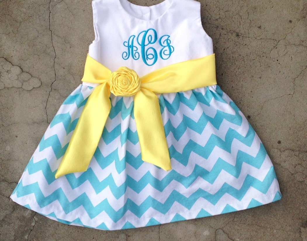Monogrammed baby dress blue and white chevron with yellow satin sash