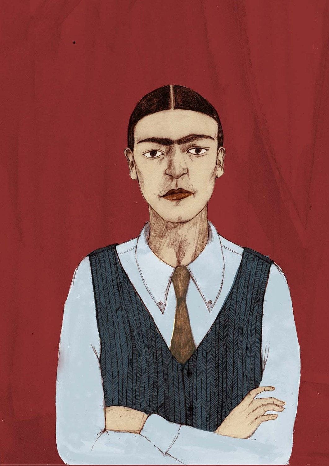 Extra Large Frida Kahlo 'Androgyny' Limited Edition A2 Giclee Print by Bett Norris