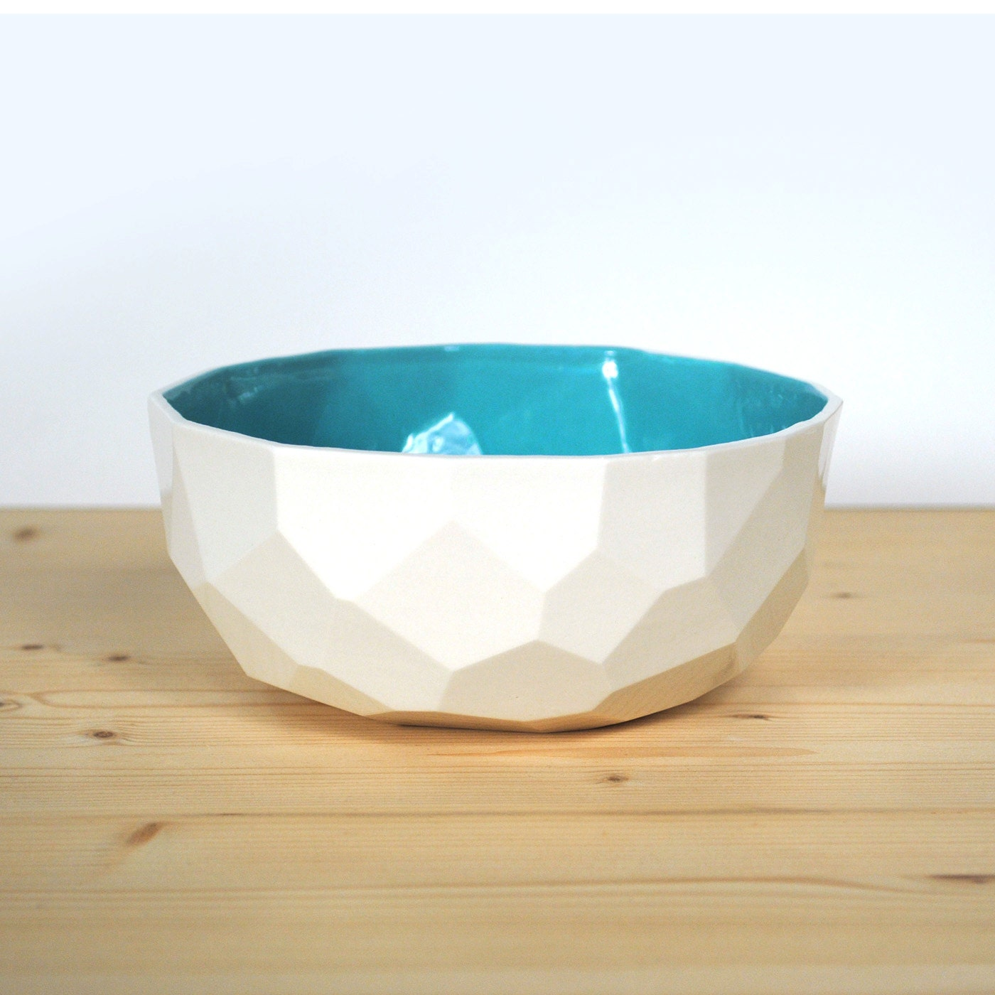 modern ceramic breakfast and soup bowl handmade in polygons out of porcelain facetted design