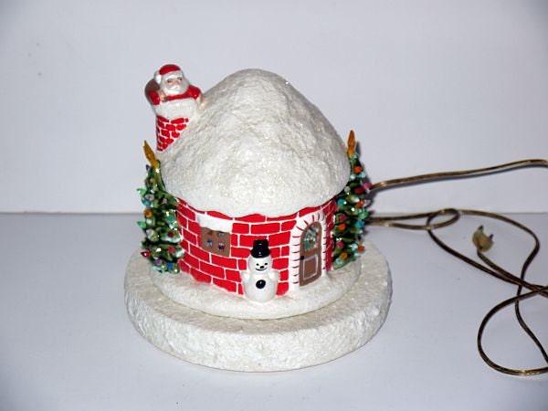 Vintage Ceramic Lighted House Cottage Light Up By