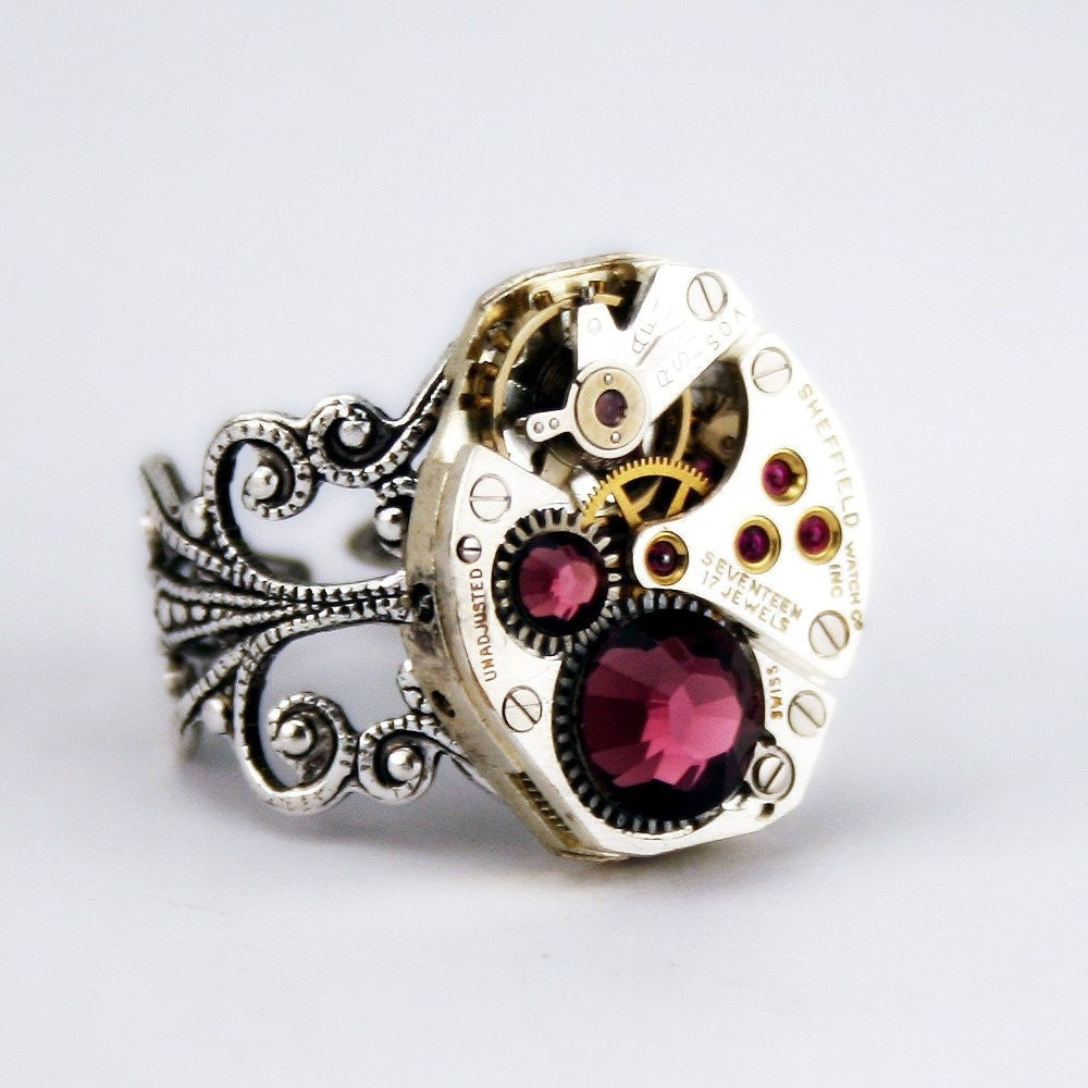 Beautifully Bejeweled Steampunk Ring - Artfully presented in a Drawstring Pouch - Securely Packaged and PROMPTLY SHIPPED