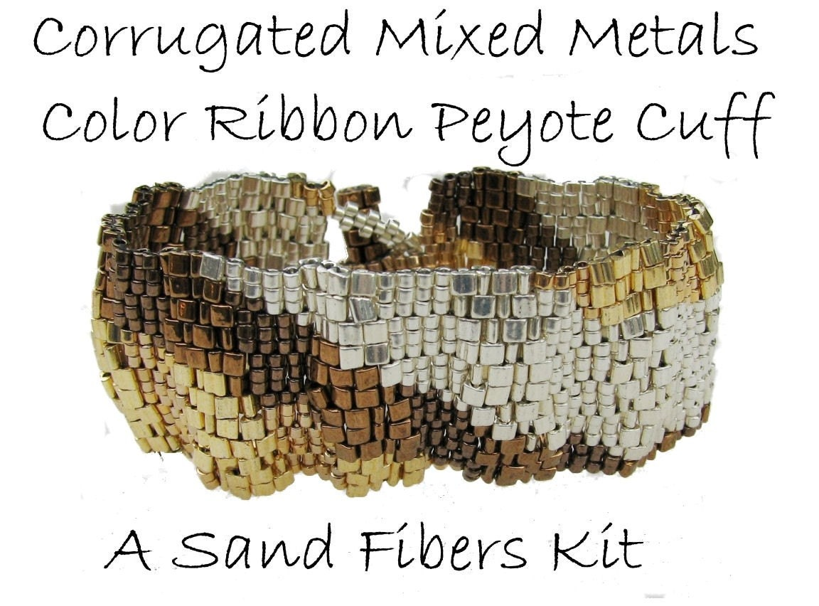 Corrugated Mixed Metals Color Ribbon Peyote Cuff - Kit with Pattern CD