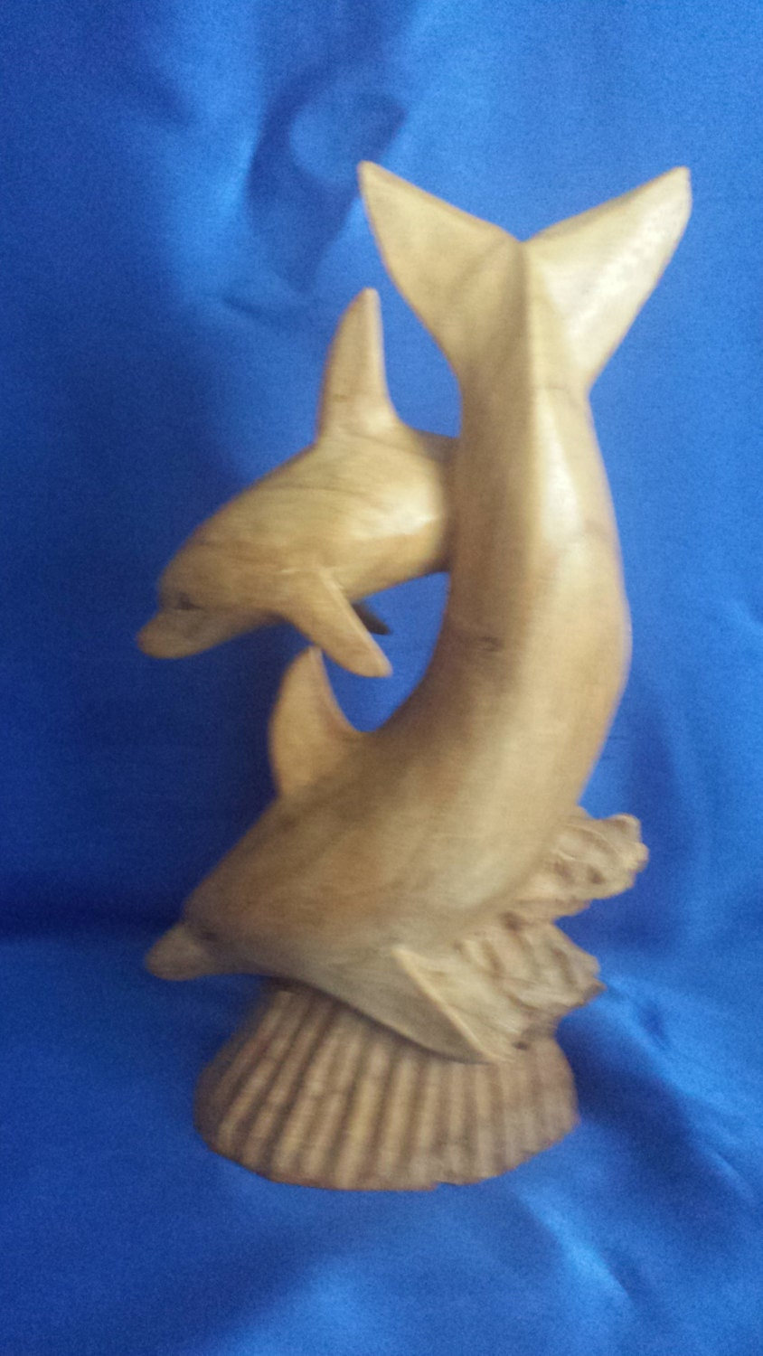 Handcarved Wooden Dolphin Mother Cow  Calve