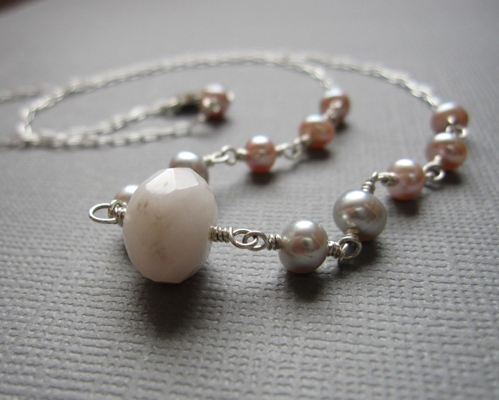 Pink Opal Gray Pink Pearl Sterling Silver Necklace