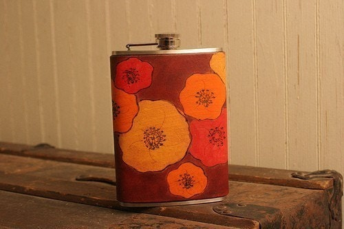 Poppy Flask - Leather in Red, Burgundy, Orange, and Yellow - 8 ounces