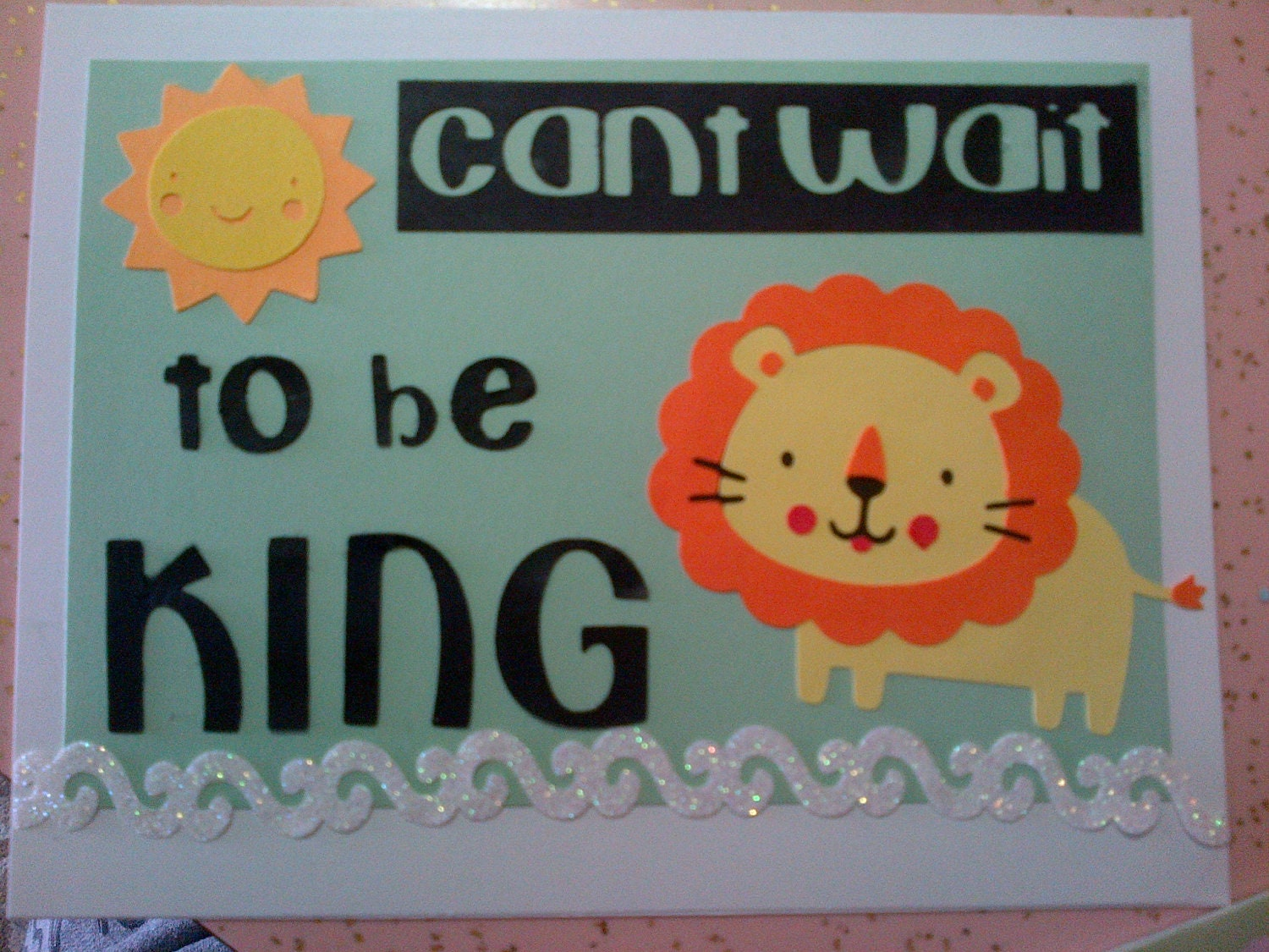 Cute Handmade Lion Baby Shower Invitation