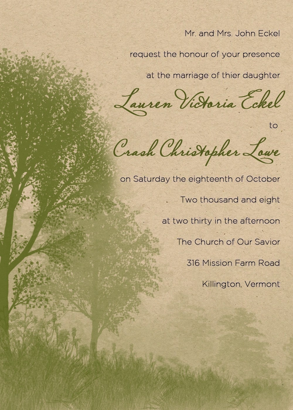 Eco friendly - Spring Mist - Wedding Invitations