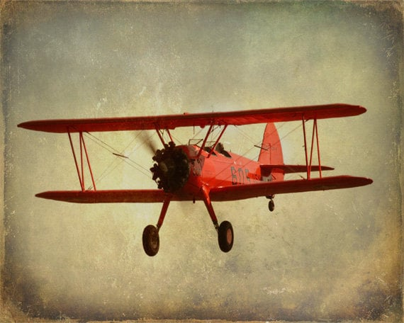 Vintage Antique Red Airplane Art Print By Sevenelevenstudios