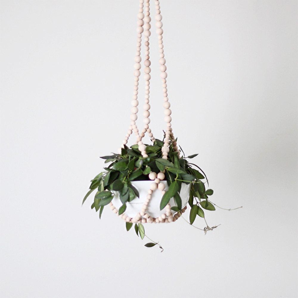beaded plant hanger  - modern planter - natural wood beads - scandinavian decor