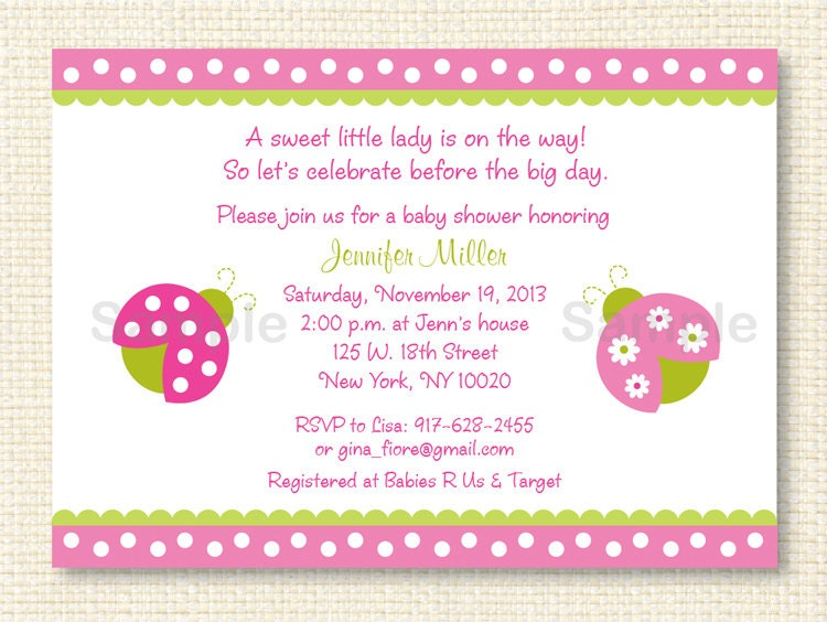 pink ladybug baby shower invitation instant by littleprintsparties