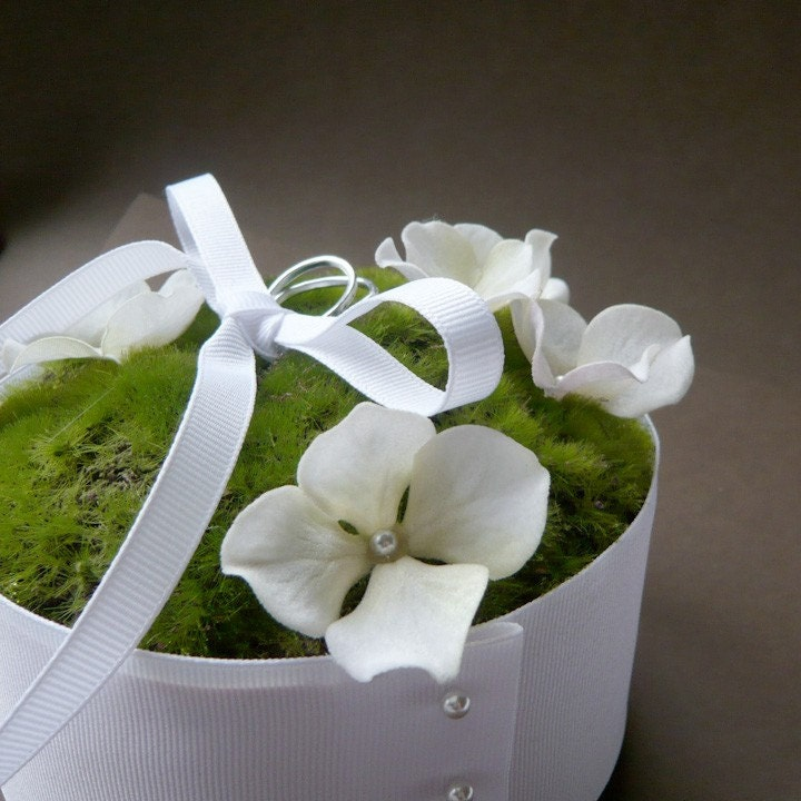 moss and blooming hydrangea ring bearer cushion